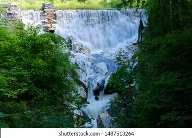 Scenic view of waterfalls on the Hudson Brook in Natural Bridge State Park in North Adams, Massachusetts