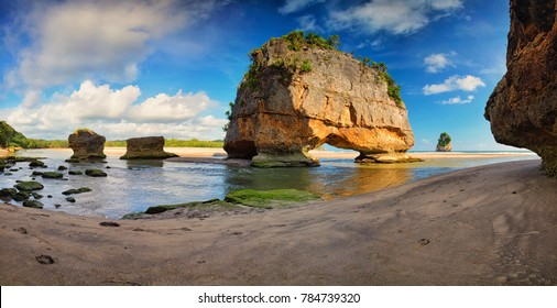 Scenic view of Watumalando Beach in Sumba Island, Indonesia.