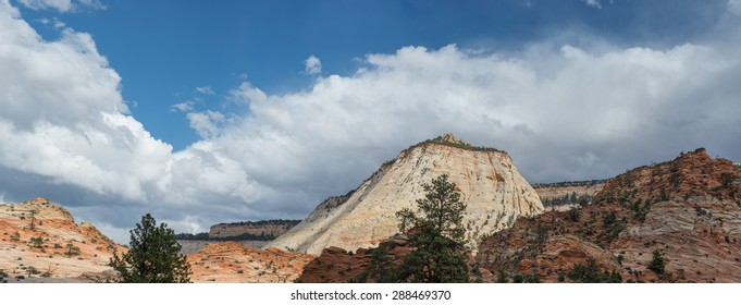 Scenic view of the west side of checker board mesa in Zion National Park