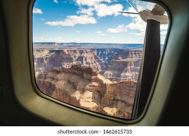 Scenic view from the window of a plane of beautiful Grand Canyon West Rim, Arizona, United States