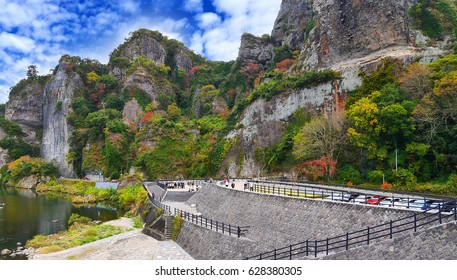 Scenic view of Yabakei Gorge nearby the Yamakuni River in Nakatsu, Oita Prefecture, Japan