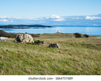 Scenic viewpoint along the Cattle Point road with views of the lighthouse