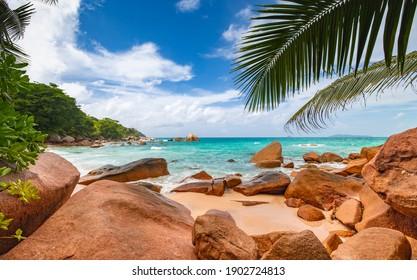 Scenic views of Anse Lazio beach on Praslin Island in the Seychelles