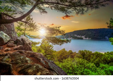 Scenic views found while exploring Devil's Lake State Park in Baraboo, Wisconsin USA during sunset.