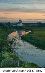 Scenic views of the historic architecture of the Russian city of Suzdal at sunset.