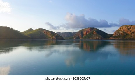 Scenic views of the  isolated  uninhabited ancient islands in the  Buccaneer Archipelago off the coast of Western Australia near the  town of Derby in the tropical  and remote  Kimberley region.