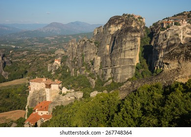 Scenic views of the mountains and monasteries of Meteora, Greece