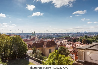 Scenic views of Prague from the top on a summer day.