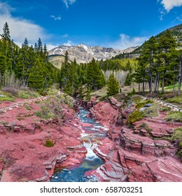 Scenic views of Red Rock Canyon, Waterton National Park Alberta Canada
