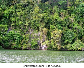 Scenic Views of Rio Dulce on the way to Livingston town by boat