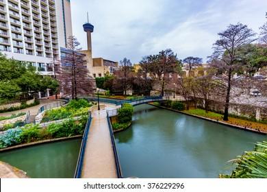 Scenic Views of the Riverwalk on a Rainy Day at San Antonio, Texas.