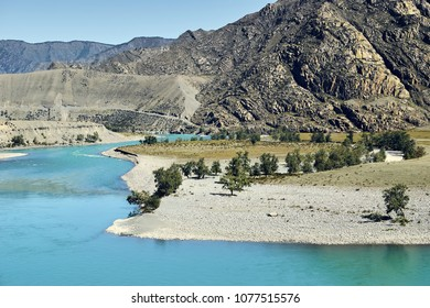 Scenic views of the Turquoise Katun river and the Altai mountains in autumn, Russia