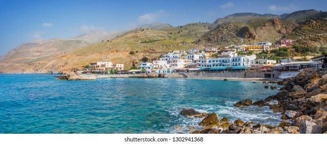 Scenic village of Hora Skafion and the mediterranean sea  in Crete, Greece