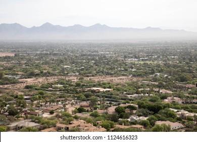 Scenic vista from Camelback mountain in Scottsdale, Arizona