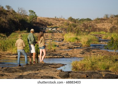 Scenic walk along rapids