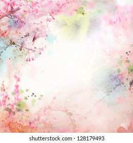 Scenic watercolor background, floral composition Sakura - Shutterstock ID 128179493