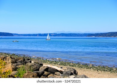 Scenic waterfront with panoramic views of the Puget Sound's Commencement Bay. Tacoma , Washington