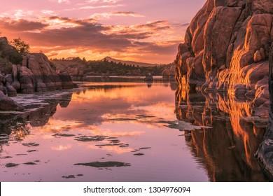 Scenic Watson lake Sunset Prescott Arizona