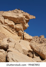 Scenic weathered yellow rock in stone desert, Israel