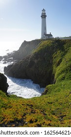 scenic white lighthouse standing on rocky hill with day ligh and waves underneath surrounded by green plants