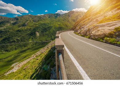 Scenic Winding Alpine Road. Great St Bernard Pass Road Connecting Switzerland and Aosta Valley in the Italy.