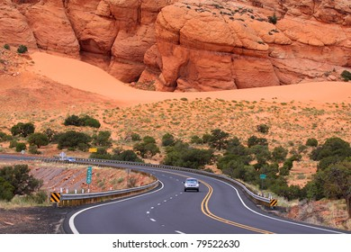 Scenic winding drive through the desert in Arizona