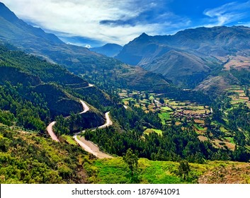 Scenic winding roads to Sacred Valley Incas Urubamba Peru majestic Andes mountains at summer season. Idyllic landscape of South America, spectacular views of beautiful peaceful nature Cuzco region. - Shutterstock ID 1876941091