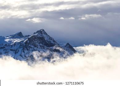 Scenic winter  alpine view of Passo dei Salati at Gressoney, between Aosta Valley and Piedmont