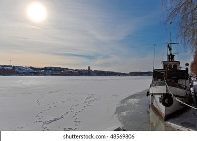 Scenic winter panorama of the Old Town in Stockholm, Sweden.