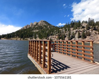 Scenic wooden pier lookout point