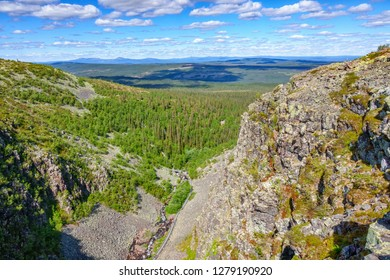 Scenics aerial view at Fulufjallet mountain canyon landscape in Sweden