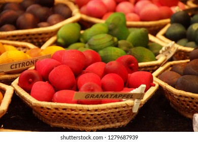 Scented carved wooden fruits at the Christmas market,Heidelberg, Germany