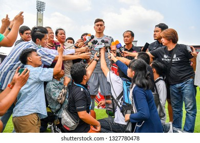 SCG Muangthong United new signing Dang Van Lam interview during his The Press conference as new player for SCG Muangthong United at SCG Stadium on February 02, 2019 in Nonthaburi, Thailand