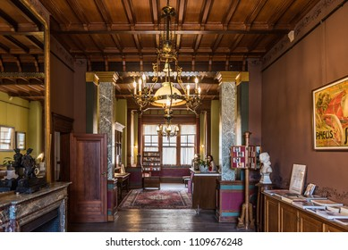 Schaerbeek, Brussels/ Belgium - 03 03 2018: View of the decorated interior on the ground floor of the first house by Horta, Maison Autrique