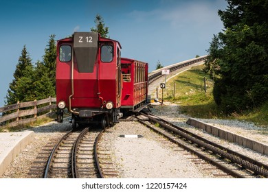 SCHAFBERG,AUSTRIA-AUGUST,2018. Special train climbing to hill of Schafberg in the  Alps on 05.08.2018.