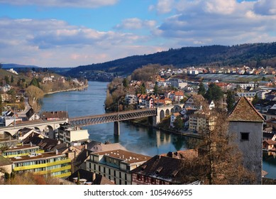 Schaffhausen city and Rhein river view.  This scene was taken on the afternoon on the top of Munot castle. This city has very beautiful traditional architecture building Swiss style. Very famous city.