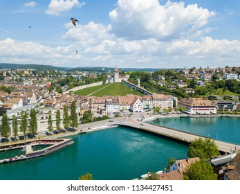 Schaffhausen, Switzerland - 14 July 2018: Aerial view of the Swiss old town Schaffhausen, with the medieval castle Munot over the Rhine river. Munot is the landmark of this town.