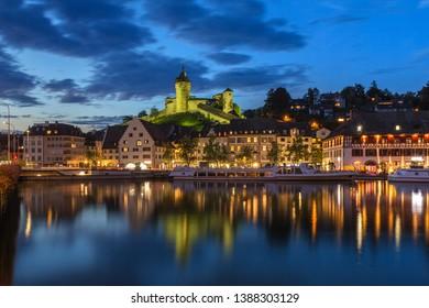 Schaffhausen, Switzerland - 22 September 2017: The medieval fortress Munot in twilight, schaffhausen, Switzerland