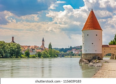 Schaibling Tower at the river Inn promenade in Passau (Germany)