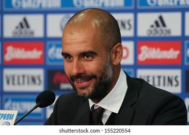 SCHALKE, GERMANY - SEP 21: Coach Josep Pep Guardiola (FC Bayern Munich) after a Bundesliga match between FC Schalke 04 & FC Bayern Munich, final score 0-4, on September 21, 2013, in Schalke, Germany.