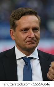 SCHALKE, GERMANY - SEP 21: Manager Horst Heldt (Schalke 04) during a Bundesliga match between FC Schalke 04 & FC Bayern Munich, final score 0-4, on September 21, 2013, in Schalke, Germany.