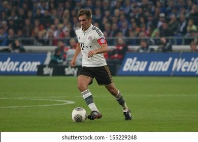 SCHALKE, GERMANY - SEP 21: Philipp Lahm (FC Bayern) during a Bundesliga match between FC Schalke 04 & FC Bayern Munich, final score 0-4, on September 21, 2013, in Schalke, Germany.