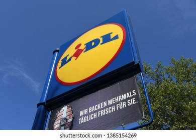 Schalksmuhle, North Rhine-Westphalia / Germany  - May 14, 2018: Sign at the entrance to an Lidl store in Schalksmuhle, Germany  -  Lidl is a german global discount supermarket chain