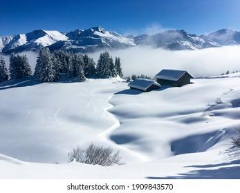 Schamserberg, Schweiz: Winterlandschaft des Schamserbergs und des Piz Beverin Naturparks.