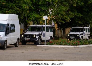 Schastye city, Lugansk region, Eastern Ukraine. Donbass. Mission OSCE vehicles in the city of Schastye, Lugansk region, have the meeting with Ukrainian president Petro Poroshenko. August 22, 2017