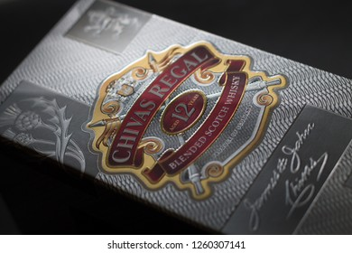 Schaumburg, Il, USA- September 24,2016, Studio Shot of a box of a Chivas Regal on black background, 12 year old scotch whiskey for editorial use only