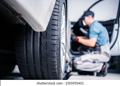 Scheduled Warranty Car Service. Vehicle Under Maintenance in Certified Auto Service.