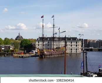 Scheepvaartmuseum seen from rooftop terrace science museum Amsterdam May 1 2018