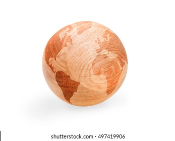 Schematic world map on the wooden ball. Globe or earth concept. Isolated on white with clipping path