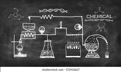 scheme chemical reaction drawing on black chalkboard